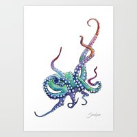 Rainbow Octopus Art Print