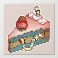 SWEET WORMS 3 - strawberry cake Canvas Print