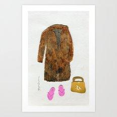 Rabbit Fut Coat Outfit Art Print