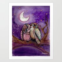 Owls In Love Art Print