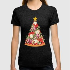 PIZZA ON EARTH Womens Fitted Tee Tri-Black SMALL