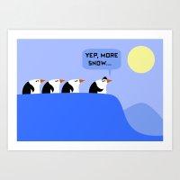 Penguins On A Quest Art Print