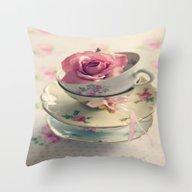 Vintage Tea Cups Throw Pillow