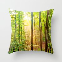 Sunbeams in the forest Throw Pillow