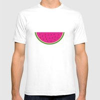 Watermelon Print Mens Fitted Tee White SMALL