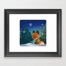 Fox & Boots - Winter Hug Framed Art Print