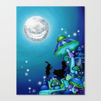 Alice in Wonderland and Cheshire Cat Canvas Print