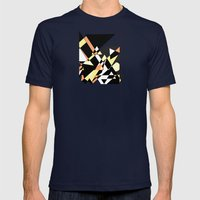 Mountain Peaks On Yellow Mens Fitted Tee Navy SMALL