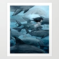 shark Art Prints featuring Shark by Renee Nault