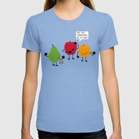 Like Apples and Oranges Womens Fitted Tee Tri-Blue SMALL