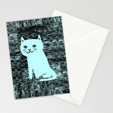 Wood grain cat Stationery Cards