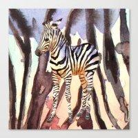 Camouflage Zebra, wildlife art, zebra art, cute nursery zebra, zebra pillow, safari art Canvas Print