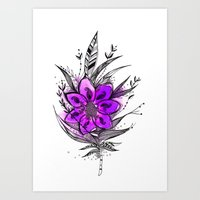 Purple Flower Feather Art Print