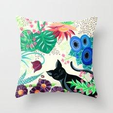 Natures Confetti Cat  Throw Pillow