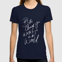 Be The Change Womens Fitted Tee Navy SMALL