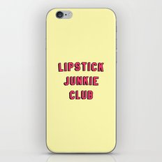 Lipstick Junkie Club   Makeup Graphic Text Only Print Tee T-Shirt iPhone & iPod Skin