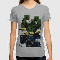 Smash the Drums... Womens Fitted Tee Athletic Grey SMALL