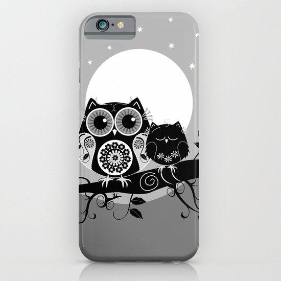 B&W Flower power Owl and her Sleepy Baby iPhone & iPod Case