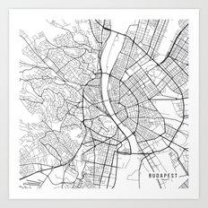 Budapest Map, Hungary - Black and White Art Print