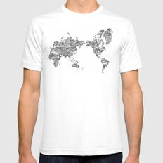 Passport Stamp Map 1 White SMALL Mens Fitted Tee