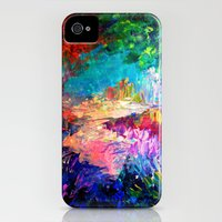 iPhone 4 Case featuring WELCOME TO UTOPIA Bold Rainbow Multicolor Abstract Painting Forest Nature Whimsical Fantasy Fine Art by EbiEmporium