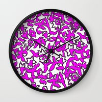Floral Pattern Pink Wall Clock