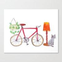 Cat Bike Lamp Plant Canvas Print