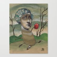 RED APPLE RACCOON Canvas Print
