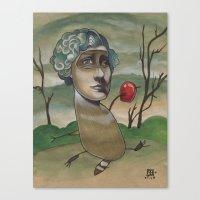 RED APPLE RACCOON Canvas Print
