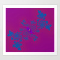 Pink And Blue Fractal Art Print