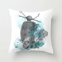 VESPA from the retro project Throw Pillow