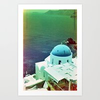 Blue Dome Church, Santor… Art Print