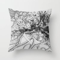 Magic Force / Original A4 Illustration / Pen & Ink Throw Pillow
