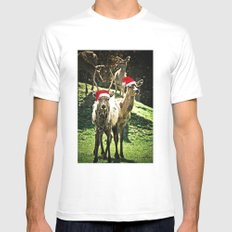 Tis The Season - Reindeer Mens Fitted Tee White SMALL