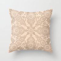 Pale Pink Lace Throw Pillow