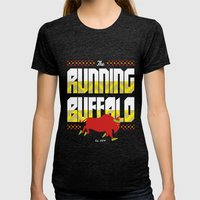 The Running Buffalo Womens Fitted Tee Tri-Black SMALL