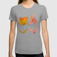 Flowers  Womens Fitted Tee Tri-Grey SMALL