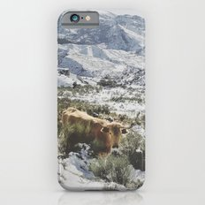 Wild cow at the mountains. Snowing. Slim Case iPhone 6s