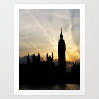 London - Big Ben Sunset Art Print
