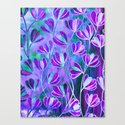 EFFLORESCENCE Lavender Purple Blue Colorful Floral Watercolor Painting Summer Garden Flowers Pattern Canvas Print