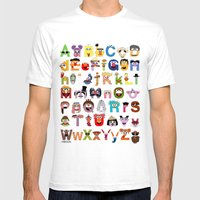 Sesame Street Alphabet Mens Fitted Tee White SMALL
