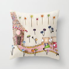 Hansel & Gretel - A House Made of Bread and Cake Throw Pillow