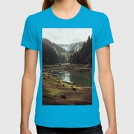 Foggy Forest Creek Womens Fitted Tee Teal X-LARGE