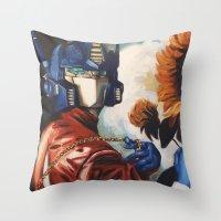 Optimus Prime With Sunfl… Throw Pillow