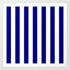Vertical Stripes (Navy Blue/White) Art Print