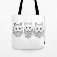 Tote Bag featuring Cats With Beards by Michael C. Hsiung