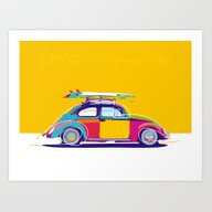 Beetle Pop Yellow Art Print