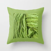 Throw Pillow featuring Spring Green Yarn by Rogue Crafter