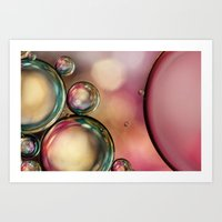 Bubble Abstract with Pink Sparkle Art Print