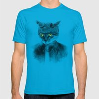 Biker Cat Mens Fitted Tee Teal SMALL